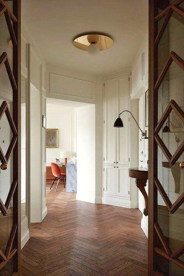 Midcentury modern hallway with ceiling light
