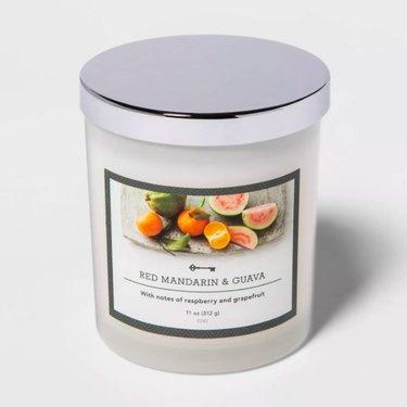 Threshold Milky Glass Lidded Jar Candle Red Mandarin & Guava