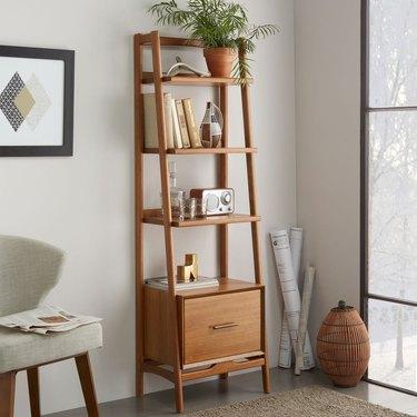 midcentury modern hallway with narrow wood bookshelf