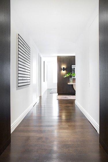midcentury modern hallway with wood floor