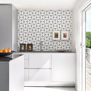 Black Geometric Faux Grasscloth Wallpaper backsplash