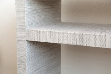 Covering an IKEA console table with peel-and-stick wallpaper