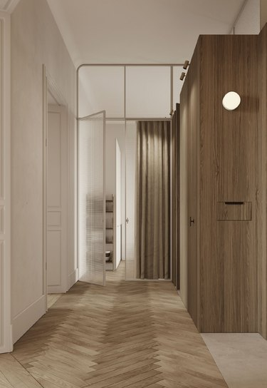 scandinavian hallway with neutral walls