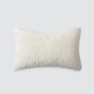cream sheepskin lumbar pillow