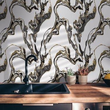 large format marble wallpaper backsplash