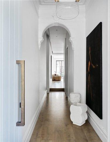 scandinavian hallway with black accents