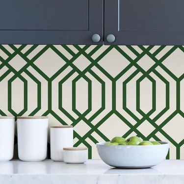 green and white trellis peel and stick wallpaper