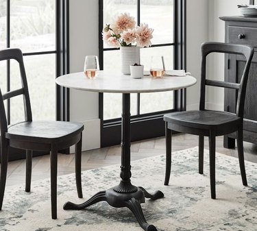 Pottery Barn Rae Round Marble Pedestal Bistro Dining Table
