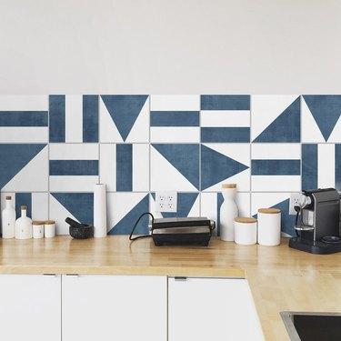 blue and white encaustic vinyl wallpaper backsplash
