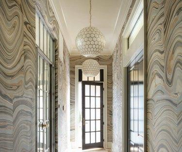 Hallway Pendant Light in Hallway with wallpaper, globe pendant lights, runner.