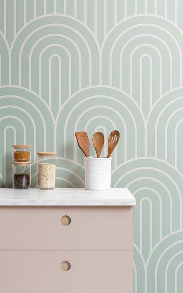 geometric Art Deco wallpaper backsplash