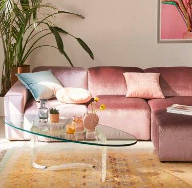 Urban outfitters velvet sofa