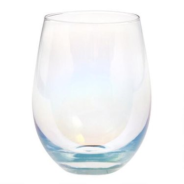 Iridescent stemless wine glasses