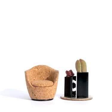 mini chair made of cork near mini furniture