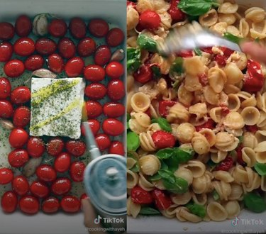 screenshots from TikTok video of person making pasta