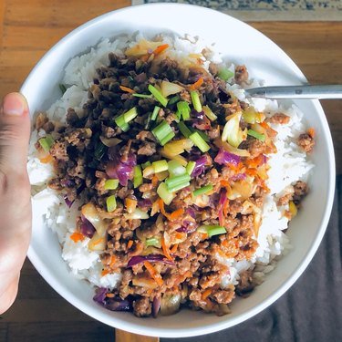 korean beef made with impossible meat on top of white rice