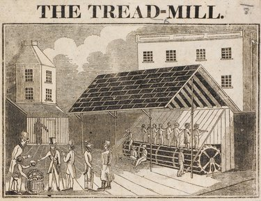 A drawing of the treadmill at Brixton Prison in London, 1817