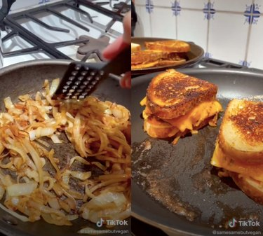 video screenshots of tiktok with person cooking patty melts