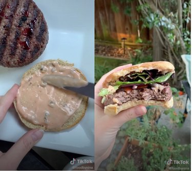 person making burger in TikTok video