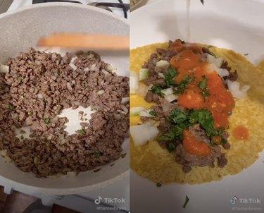 screenshots of tiktok video of person making tacos
