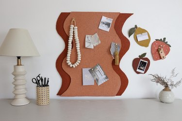 DIY wavy shape cork board with lemon, strawberry and apple bulletin boards