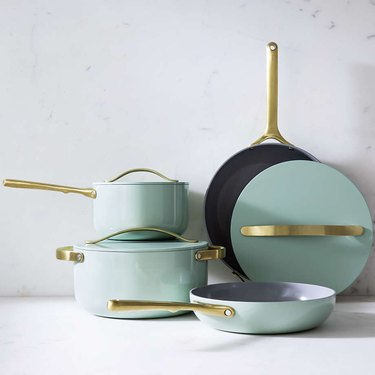 mint green and gold cookware set