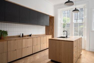 Countertops with Oak Cabinets in oak kitchen with oak countertops