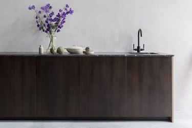 Countertops with Oak Cabinets in smoked european oak kichen cabinets with grantie countertop