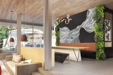 room with couch and bench and wall mural in the virtual project Obsidian Concept House