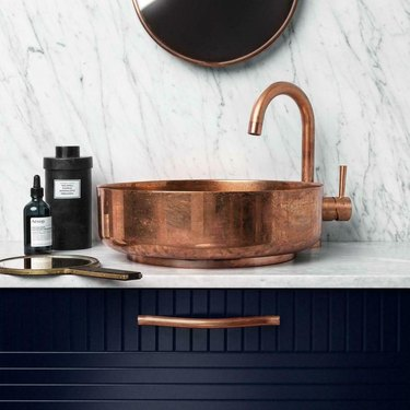 Copper bathroom faucet and sink