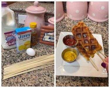 corn dog ingredients and mini waffle dog tiktok recipe