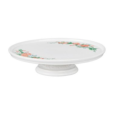 white cake stand with floral design