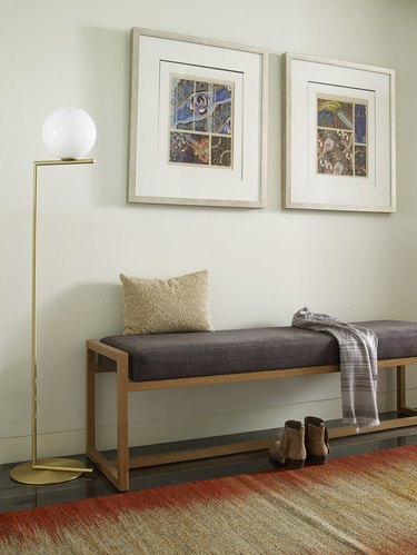 minimalist hallway bench