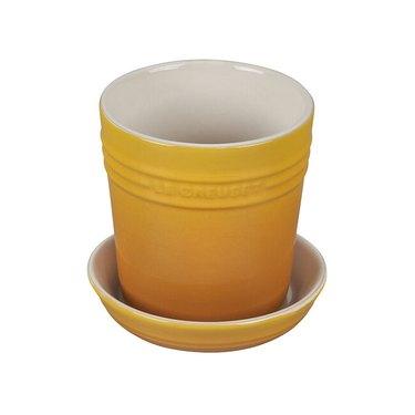yellow stoneware planter with tray