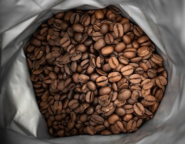 brown coffee beans in foil bag