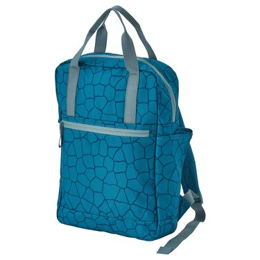 blue patterned bag with gray straps