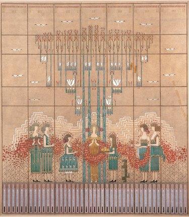 patterned rug with figures designed by Loja and Eliel Saarinen in 1932.