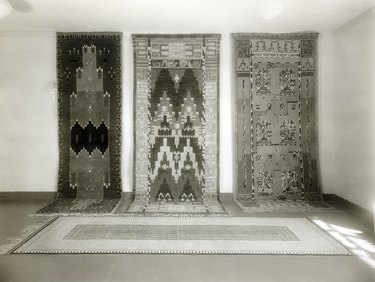 black and white photo of patterned rugs