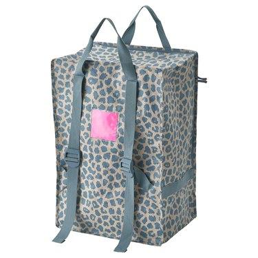 blue patterned bag with blue handles