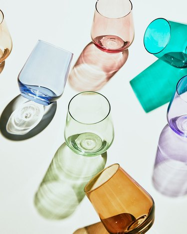 stemless wine glasses in various colors