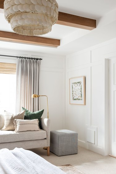 modern farmhouse bedroom with beige sofa and Bedroom Floor Lamps