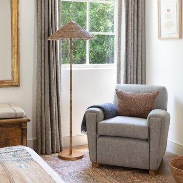 rattan Bedroom Floor Lamps in bedroom corner with armchair