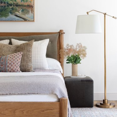 modern farmhouse bedroom with bedroom floor lamp