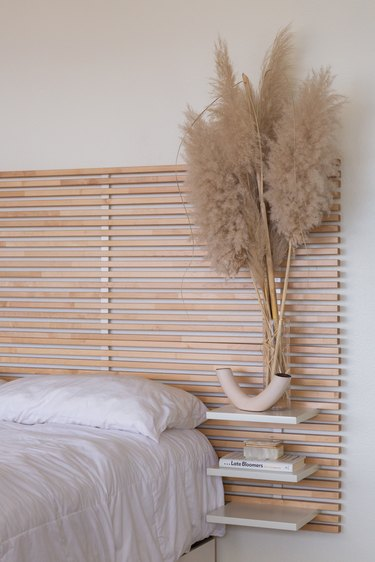 Tall pampas grass on bedside table