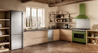 rustic kitchen with modern fridge