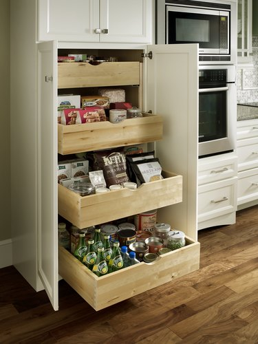 roll-out trays in kitchen