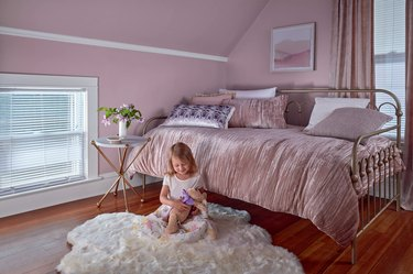 bedroom with lavender wall