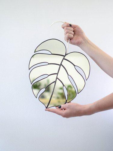Monstera stained glass mirror