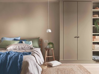 neutral bedroom with taupe walls and contemporary colors