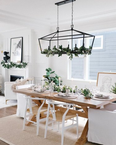 contemporary Christmas decor in neutral dining room decorated for christmas